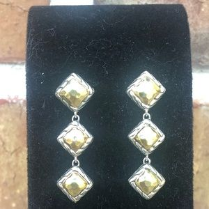 John Hardy 22K Sterling Palu 3 Square Earrings
